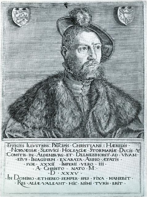 Christian 3. Portræt udført af Jacob Binck, i 1535, da Christian var hertug og 32 år gammel, original graveret i sølvplade, her retvendt tryk