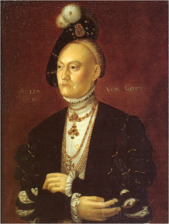 Dorothea af Sachsen-Lauenburg (1511-1571)dronning, gift med Christian 3. Jacob Binck. Wikipedia, Public Domain.
