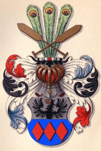 Paslichs våben: Tværdelt af hvidt, hvori en halv sort ørn med gult næb fast på delingen, og blåt hvori tre røde ruder. På hjelmen to krydsede gule årer foran tre påfuglefjer. (Achen 1973, Danske Adelsvåbener s. 362)